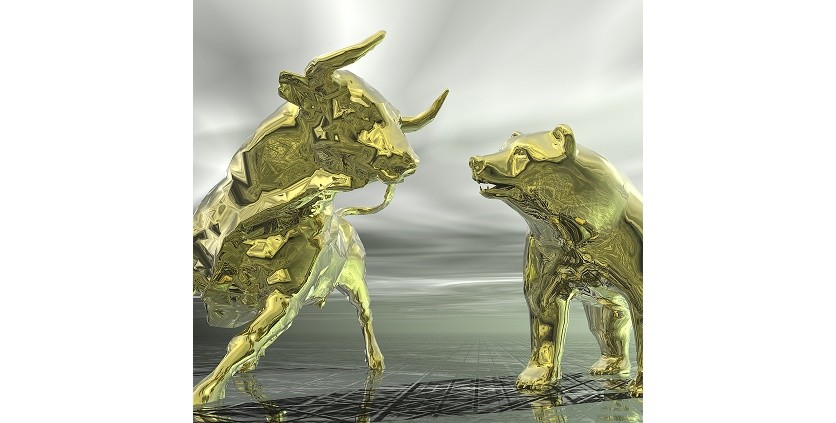 digital 3d visualization of bull and bear