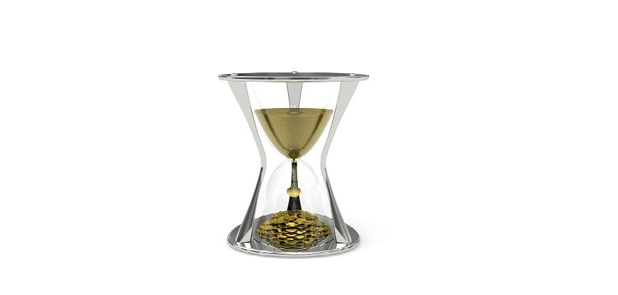 Metallic Hourglass with the sand at the top and gold coins at the bottom