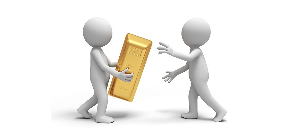 Gold,money,A people give a gold brick to the other